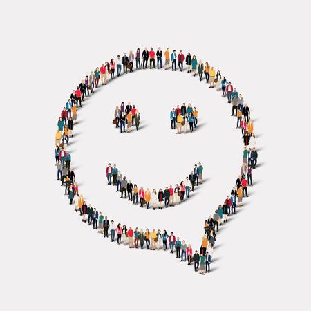 Large group of people in the shape of chat bubbles, smile. Vector illustration Ilustração