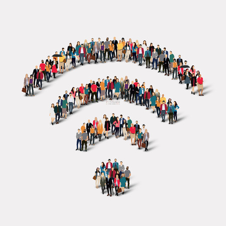 social media icon: A large group of people in the form of a sign of Wi fi. Vector illustration