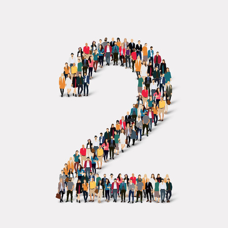 orthographic symbol: A large group of people in the form of a number two 2. Vector illustration.