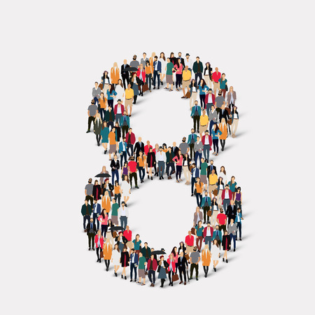orthographic symbol: A large group of people in the form of a number eight 8. Vector illustration.