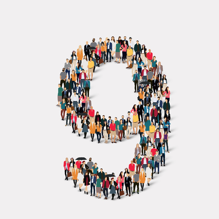 orthographic symbol: A large group of people in the form of a number nine 9. Vector illustration. Illustration