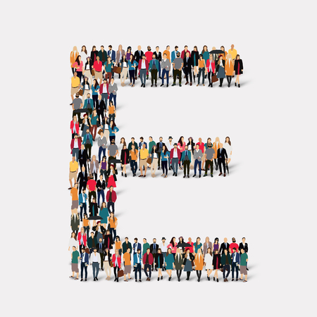 large  group: Large group of people in letter form E. Vector illustration. Illustration