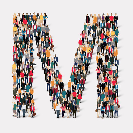 large: Large group of people in letter form M. Vector illustration.