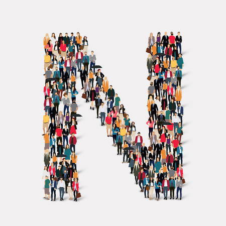 forms: Large group of people in letter form N. Vector illustration.