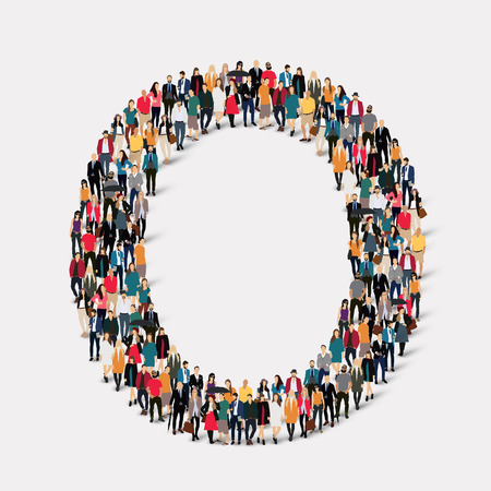 orthographic symbol: Large group of people in letter form O. Vector illustration. Illustration