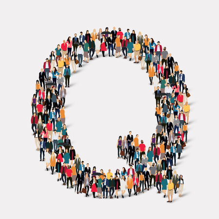 large  group: Large group of people in letter form Q. Vector illustration.