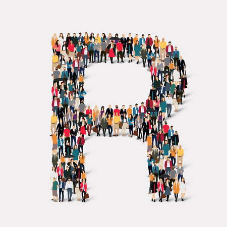 orthographic symbol: Large group of people in letter form R. Vector illustration.