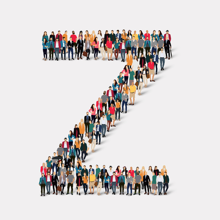 large  group: Large group of people in letter form Z. Vector illustration.