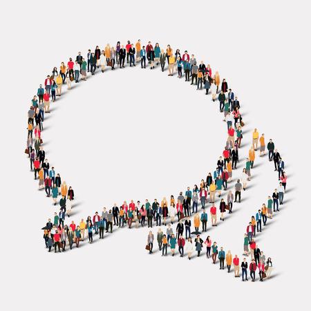 Grote groep mensen in de vorm van praatje bellen. vector illustratie Stockfoto - 47572983