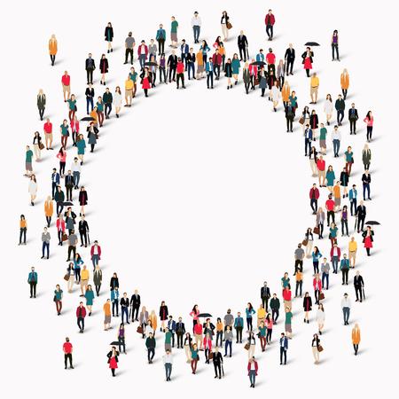 Velká skupina lidí ve tvaru kruhu. Vektorové ilustrace.