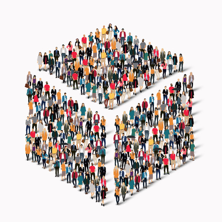 A large group of people in the shape of a cube . Vector illustration