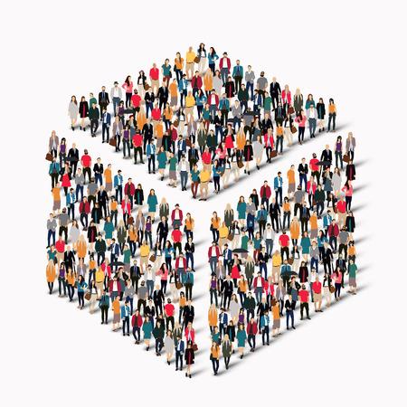 Een grote groep mensen in de vorm van een kubus. vector illustratie
