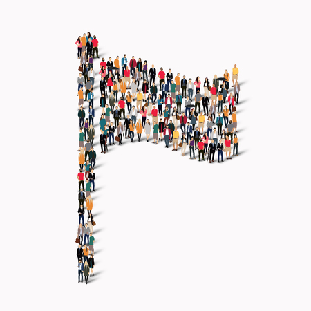 manifest: A large group of people in the form of flag . Vector illustration. Illustration