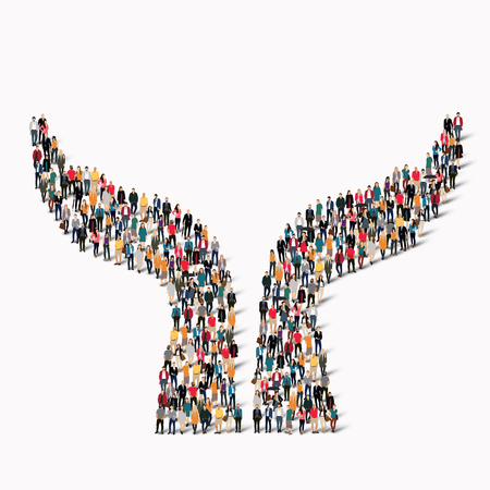 A large group of people in the shape of a hand. Vector illustration Stock Illustratie