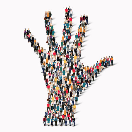 linked hands: A large group of people in the shape of a hand. Vector illustration Illustration