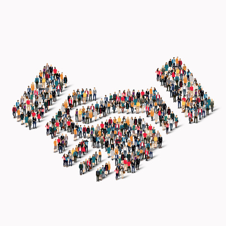 A large group of people in the shape of a handshake. Vector illustration Stock Illustratie