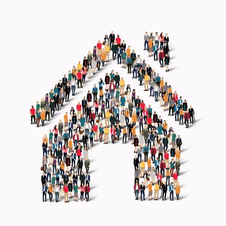 家の形の人々 の大規模なグループ。ベクトルの図。