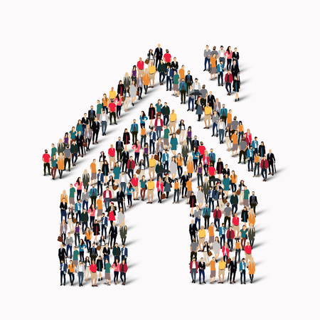 A large group of people in the form of house . Vector illustration.