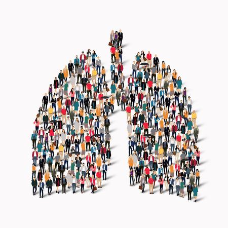 肺人間医学の形で人々 の大規模なグループ。ベクトル図  イラスト・ベクター素材
