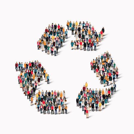 international recycle symbol: A large group of people in the shape of recycling. Vector illustration Illustration