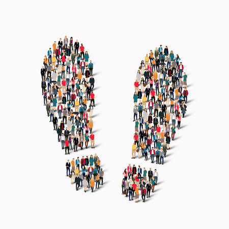 taking pulse: A large group of people in the shape of traces. Vector illustration