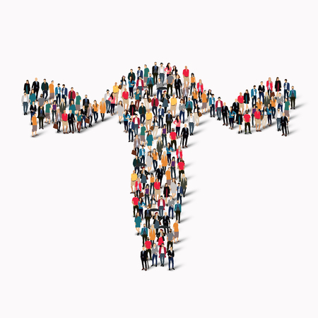 testicle: A large group of people in the form of uterus human medicine. Vector illustration