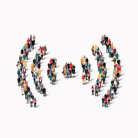 using voice: A large group of people in the form of a sign of Wi fi. Vector illustration