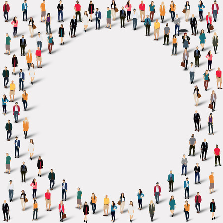 world group: Large group of people in the shape of  circle . illustration.