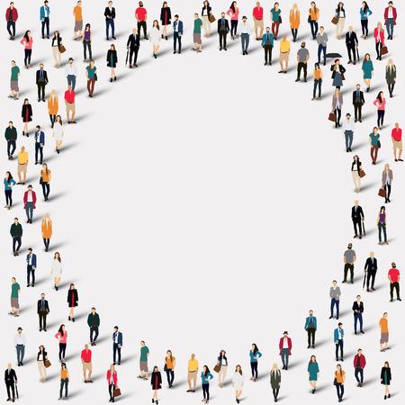 Velká skupina lidí ve tvaru kruhu. ilustrace.