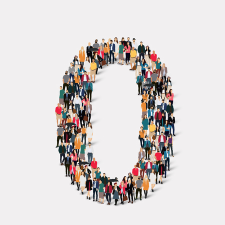 orthographic symbol: A large group of people in the form of a number zero 0.  illustration. Stock Photo