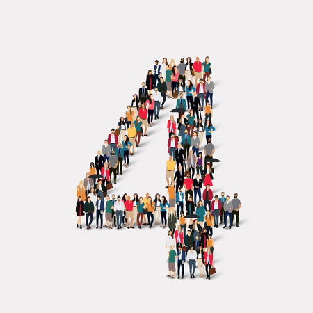 orthographic symbol: A large group of people in the form of a number four 4. illustration.