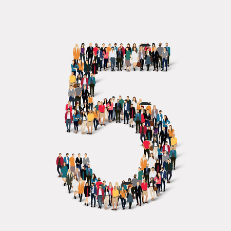 orthographic symbol: A large group of people in the form of a number five 5. illustration.