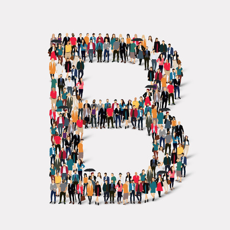large  group: Large group of people in letter form B .  illustration.