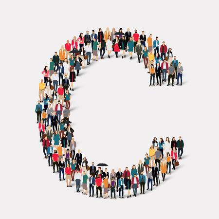 Large group of people in letter form C.  illustration.