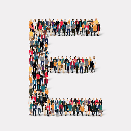 Large group of people in letter form E.  illustration.