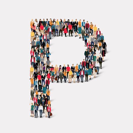 orthographic symbol: Large group of people in letter form P.  illustration. Stock Photo