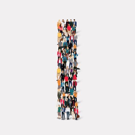 Large group of people in letter form I. illustration.