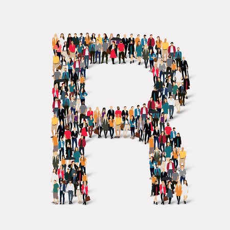 orthographic symbol: Large group of people in letter form R.  illustration.