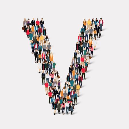 Large group of people in letter form V.  illustration. Imagens
