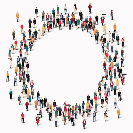 Large group of people in the shape of  circle . illustration.