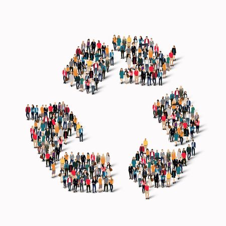 international recycle symbol: A large group of people in the shape of recycling.