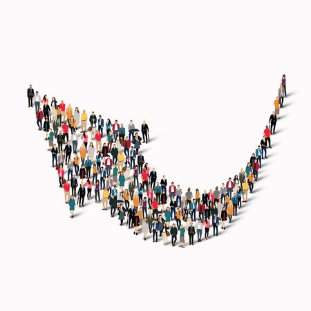 group direction: A large group of people in the shape of an arrow direction.  illustration