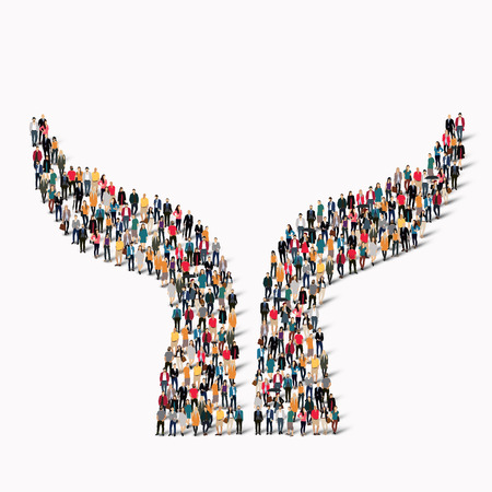 A large group of people in the shape of a hand. illustration