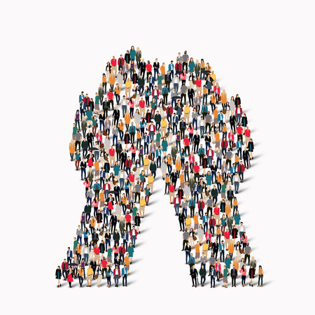 holistic view: A large group of people in the shape of a hand. illustration