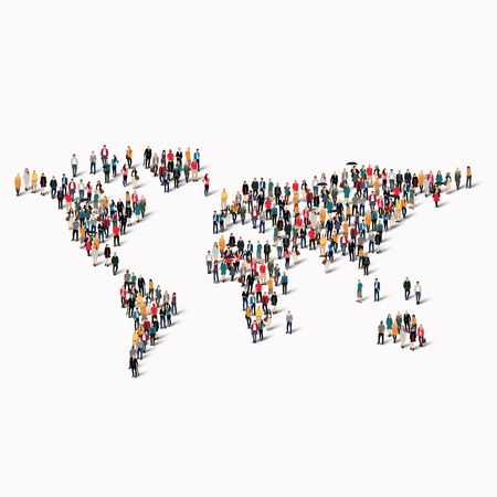 adult student: A large group of people in the shape of a world map. illustration