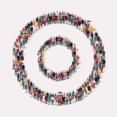 circle shape: Large group of people in the shape of  circle .  illustration. Stock Photo