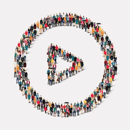 friend chart: A large group of people in the shape of play button . illustration