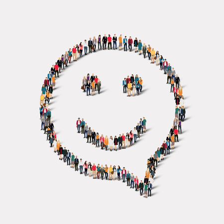 large: Large group of people in the shape of chat bubbles, smile.  illustration Stock Photo