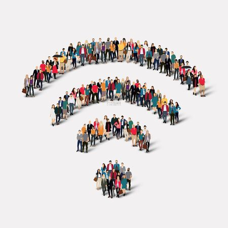 using voice: A large group of people in the form of a sign of Wi fi. illustration Stock Photo