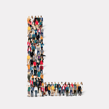 large  group: Large group of people in letter form L.  illustration. Stock Photo